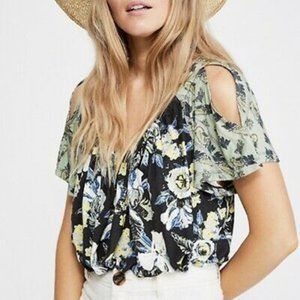 NWT Free People Baja babe cold shoulder blouse top